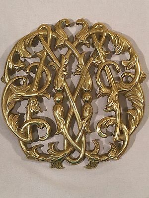 Vintage Colonial Williamsburg Solid Lacquered Brass Trivet CW10-14 Cypher 1950