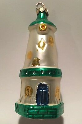 Vintage Lighthouse Christmas Ornament W/ Green Accents (Germany)