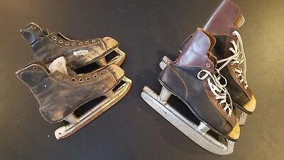 2 Pair Lot of Vintage Old Antique Boy Youth Child Ice Skates Brown/Black, Bauer
