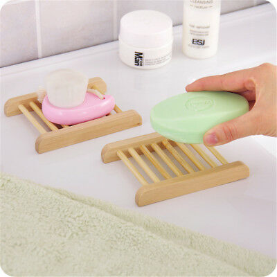 1/4X Bathroom Soap Dish Drain Tray Holder Sponge Plate Storage Rack Natural Wood