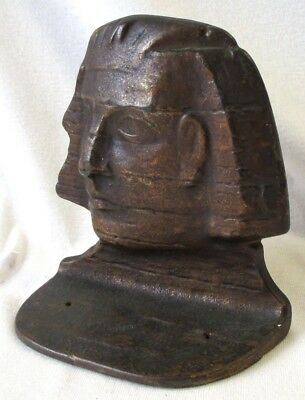 Cool Antique Single Bronzed Cast Iron Sphinx Bookend Snead & Co. #3061