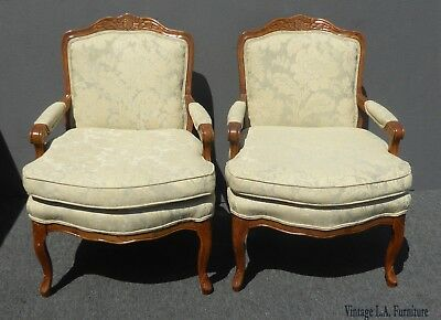 Pair Vintage French Provincial Carved Wood Off-White Floral Design Accent Chairs
