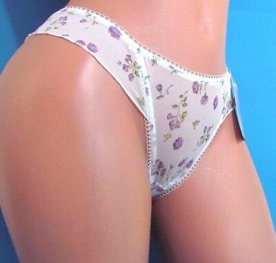 B4 CAPRICIA O'DARE White Floral Sheer Frilly thong sissy bikini panties  5 6 9