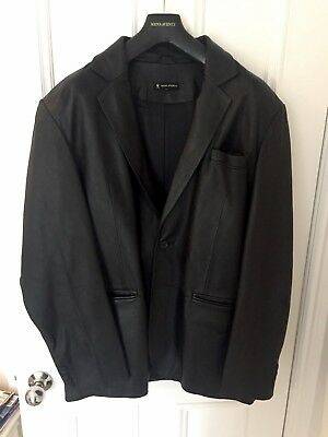 Stylish MENS AVENUE Leather Jacket Blazer Black Sz XL Designer
