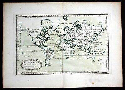 1764 - World map Weltkarte Mappemonde Bellin handcolored antique map