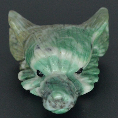 Howling Wolf Green Spot Jasper Animal Pendant Hand Carved Necklace Jewelry