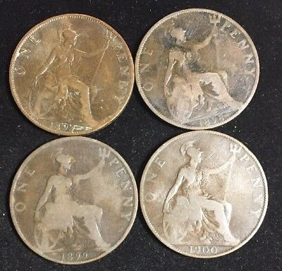 Four Great Britain Large One Penny Victoria Coins 1897, 1898, 1899, 1900 Eg70