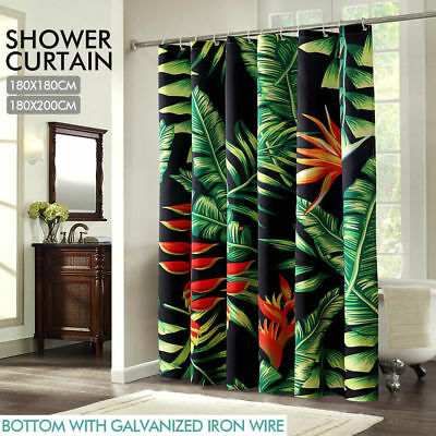 Polyester Waterproof Bathroom Shower Curtain Panel Decor With 12 Hook Palm