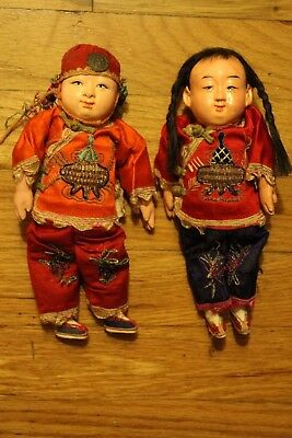 """Lot of 2 Antique Asian composition dolls with embroidery about 8"""" tall"""