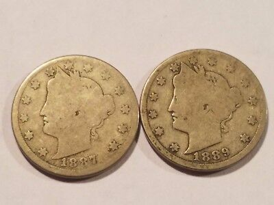 1887 and 1889 Liberty Nickels