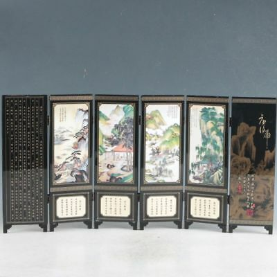 Chinese Lacquerware Handwork Scenery Screen PF6017