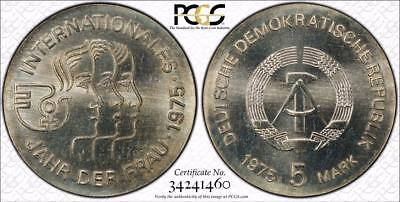 East Germany 1975 5 Mark, International Year of the Woman, PCGS MS66