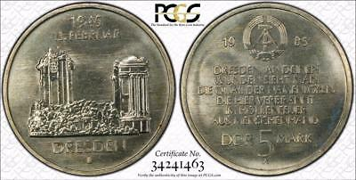 East Germany 1985-A 5 Mark, Dresden Women's Church, PCGS MS67