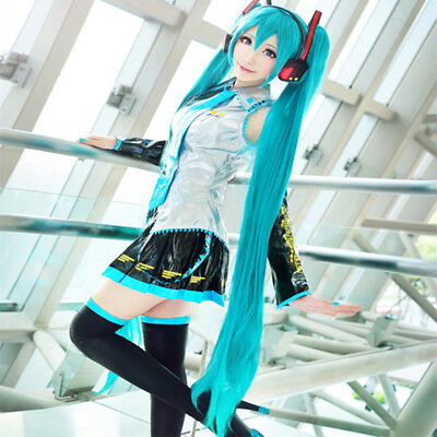 120CM Cosplay Wig Vocaloid Hatsune Miku Blue Long Straight Anime Videogame Fiber
