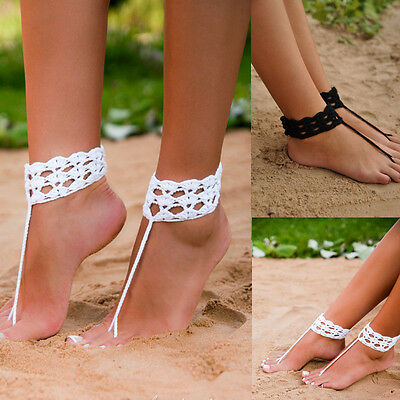 crochet barefoot sandal,Wedding Anklets bride Bridesmaids Beach Shoes sandles