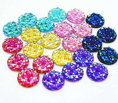 50pcs 12mm Mixed Colors Round Flat back Glitter Resin Cabochons Cameo 305