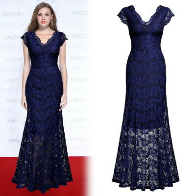 Women's Full Lace Sexy Elegant Formal Evenging Cocktail Gowns Prom Party Dresses