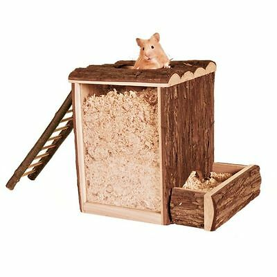 Wooden Play & Burrow Tower with 2 Entrances Ladder & Acrylic Glass Hamster Toy