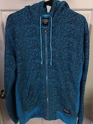 Stussy Hooded Zip Up Jacket hoodie blue patterned jumper fleece Size L