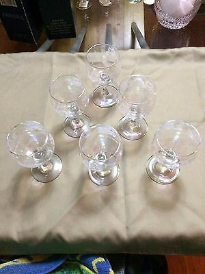 Vintage Wine Glasses Etched, Pearl Iridescent x 6