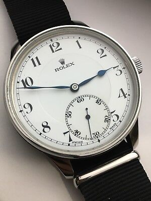 GIGANTIC Authentic Rolex Converted Stainless Steel Pocket Watch To Wristwatch