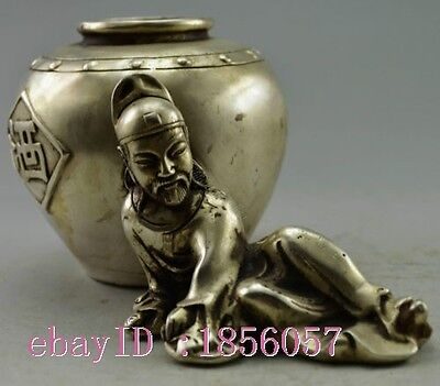 Collectible Old Handwork Silver Plate Copper Poet Li Po Drinking Statue Pot