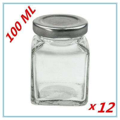 12X Small Glass Jars 100ml w/h Lid Lolly Jam Honey Spice Canister Conserve Jar W