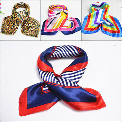 Ladies Square Silk Feel Satin Scarf - Small Vintage Head Neck Hair Tie Band MO