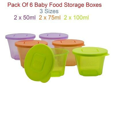 Fresh Pure Containers NUK Stackable Storage Pots Baby Food Portions Organisers