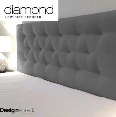 SUEDE LOW RISE Upholstered Bedhead Headboard for Double Size Ensemble - GRAPHITE