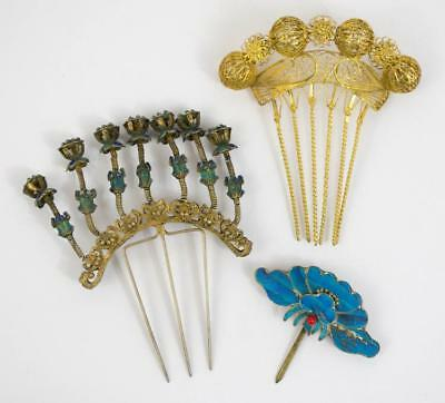 Antique Chinese Ornate Enamel Hairpins Lot 215