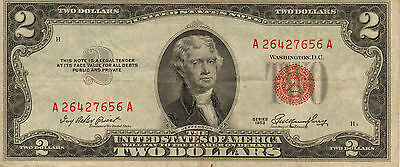 1953 $2 United States Note, Red Seal, Circulated Medium to High Grade (Z-188)