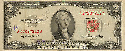 1953 $2 United States Note, Red Seal, Circulated Medium to High Grade (Z-191)