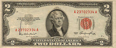 1953 $2 United States Note, Red Seal, Circulated Medium to High Grade (Z-183)
