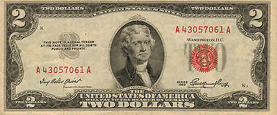 1953 $2 United States Note, Red Seal, Circulated Medium to High Grade (Z-241)