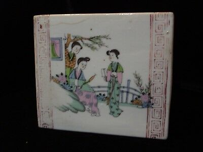 China Qing Dynasty Pillow with Three Lady Scene Antique