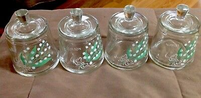 VINTAGE NURSERY BABY GLASS JAR SET lily of the valley boric cotton nipples oil