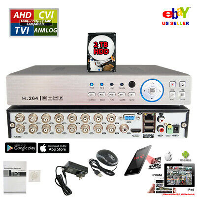 HD 16 Channel H.264 CVI TVI AHD CCTV Security Camera Recorder DVR Cloud with 2TB
