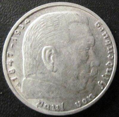 German 2 Mark Nazi Coin (1937 A) With Swastika