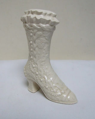 Royal Creamware Cream Ware Occasions Relief Boot Shoe 4.5""