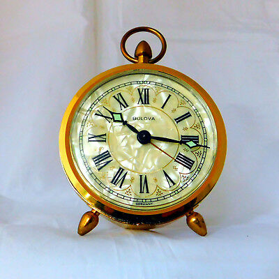 Bulova Vintage Mother of Pearl Round Face Alarm Clock Made in Germany Excellent!