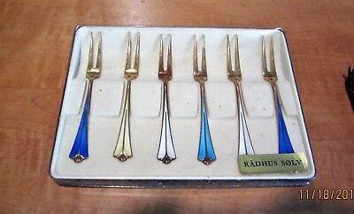 Qty 10 David Andersen DA Enamel Forks 925 Norway Sterling Silver (1 set + 4)