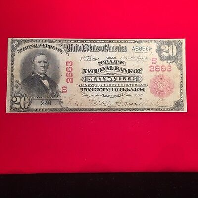 Red Seal Maysville, Kentucky National Bank Note. Charter 2663.
