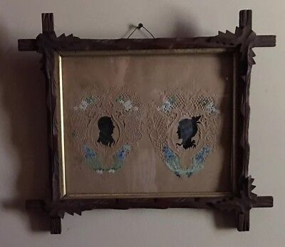19th Century Framed Double Valentine Silhouette