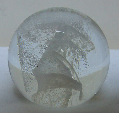 Caithness C//g  White Glass Mottled Lava Twist Paperweight 2.75""