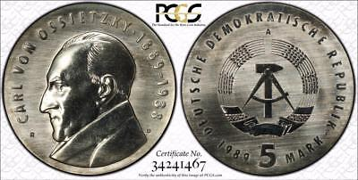 East Germany 1989-A 5 Mark, Carl Von Ossietsky, PCGS MS66