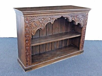 Vintage Spanish Indonesian Style Ornately Carved Two Tier Bookcase