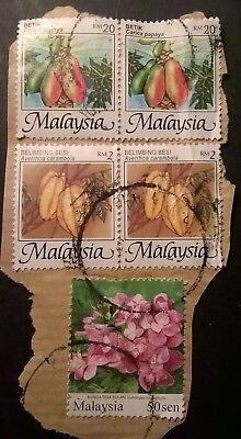 MALAYSIA STAMPS - 1986 - FRUITS/FLOWERS - SET OF 5 (on paper) - USED