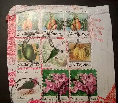 MALAYSIA STAMPS - 1986/2005 - FRUITS/FLOWERS/BIRDS - SET OF 9 (on card) - USED