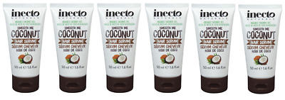 6x Inecto Naturals Smooth Me Organic Coconut HAIR SERUM 50ml